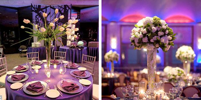Wysokie dekoracje stołu
