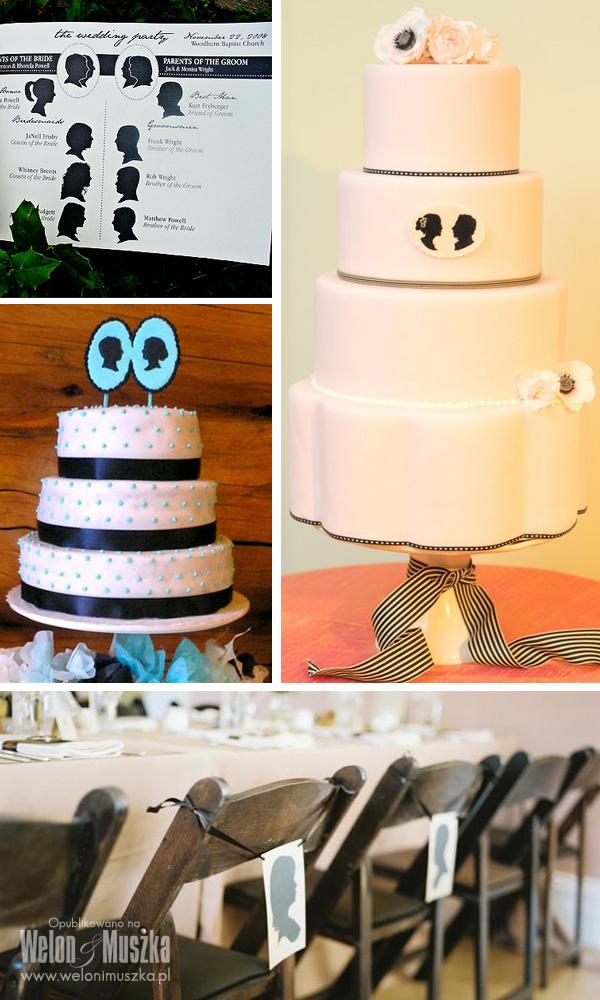 welon i muszka, dekoracje ślubne, zaproszenia, inspiracje, silhouette