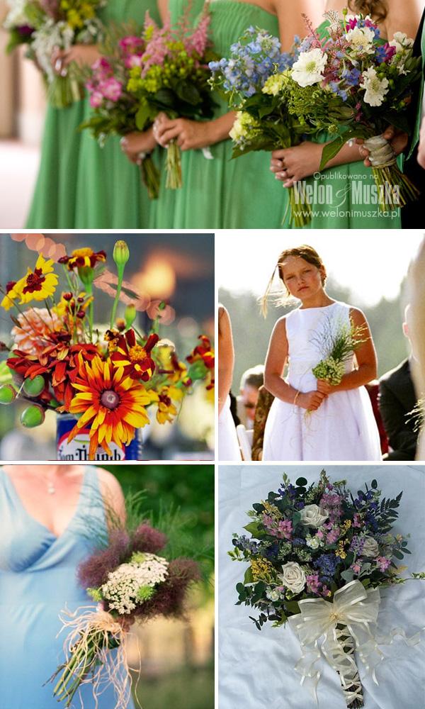 welon i muszka bukiet ślubny inspiracje kwiaty polne