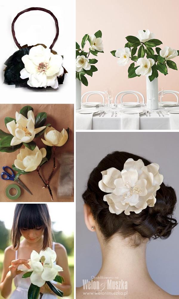 welon i muszka bukiet ślubny kwiaty magnolia