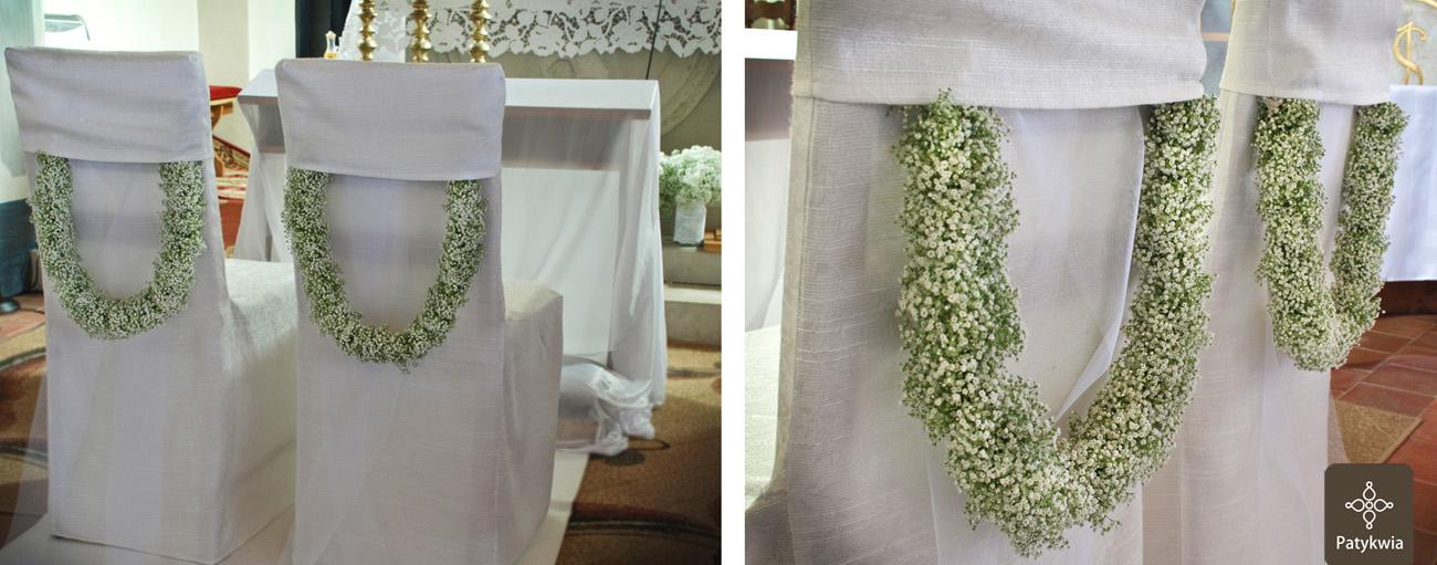 dekoracja krzeseł ślub