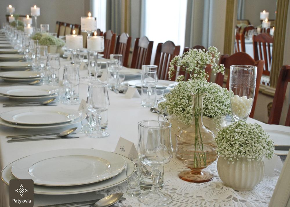 dekoracje na wesele gipsówka