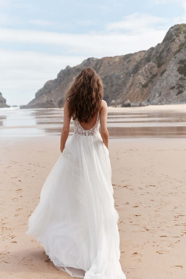 Syrena Średni Szyfon Latem Plaża Bez pleców Spódnica ślubne